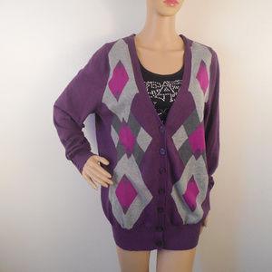 Lane Bryant Cardigan Sweater Argyle Knit Cotton